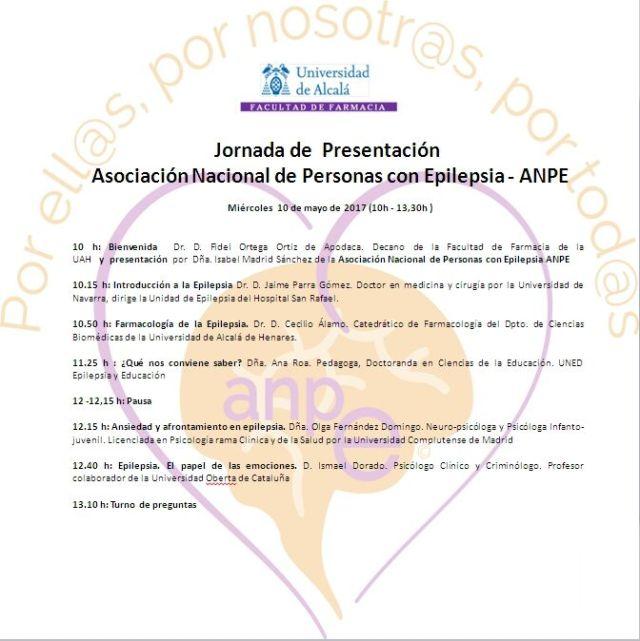 Cartel charla Epilepsia 10 de mayo 2